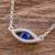 Sterling silver pendant necklace, 'Beautiful Baby Blues' - Handcrafted Sterling Silver Blue Eye Pendant Necklace (image 2b) thumbail