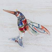 Blown glass figurine, 'Color in Motion' - Handcrafted Colorful Hummingbird Blown Glass Figurine