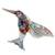 Blown glass figurine, 'Color in Motion' - Handcrafted Colorful Hummingbird Blown Glass Figurine (image 2a) thumbail