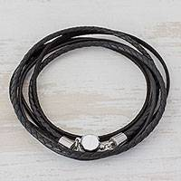 Men's leather wrap bracelet, 'Cosmopolitan in Black' - Men's Black Leather Smooth and Braided Band Wrap Bracelet