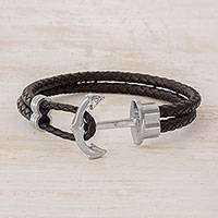 Men's leather wristband bracelet, 'Anchor' - Men's Black Braided Leather Wristband Bracelet with Anchor