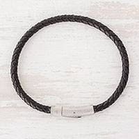Men's leather wristband bracelet, 'Dashing' - Handcrafted Men's Black Braided Leather Wristband Bracelet