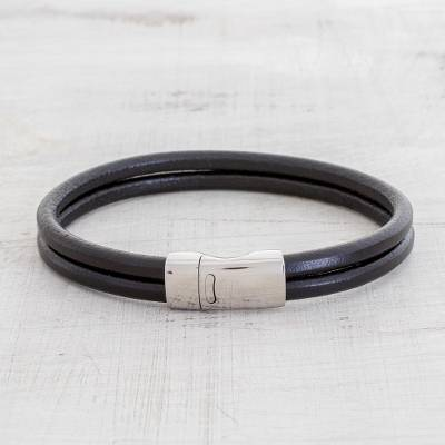 Men's leather wristband bracelet, 'Dapper in Black' - Men's Double Band Black Leather Wristband Bracelet