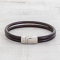 Men's leather wristband bracelet, 'Dapper in Brown' - Men's Double Band Brown Leather Wristband Bracelet