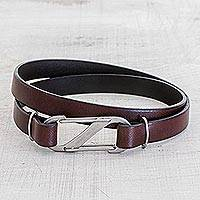 Men's leather wrap bracelet, 'Discoverer' - Men's Brown Leather Wrap Bracelet with Carabiner Clasp