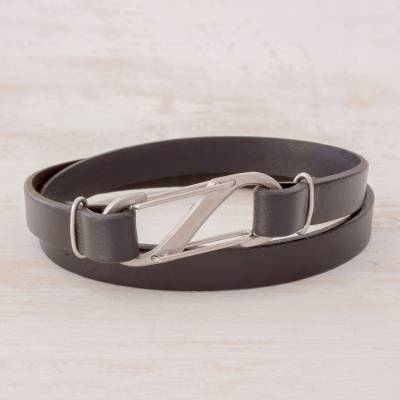 Men's leather wrap bracelet, 'City Nights' - Men's Black Leather Wrap Bracelet with Carabiner Clasp