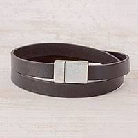 Men's leather wrap bracelet, 'Masterful' - Handcrafted Men's Black Leather Wrap Bracelet