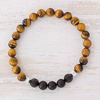 Men's tiger's eye and agate stretch bracelet, 'Magnitude' - Men's Tiger's Eye and Black Agate Stretch Bracelet