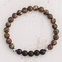 Men's jasper and agate beaded stretch bracelet, 'Universal Strength' - Jasper and Agate Beaded Stretch Bracelet from Costa Rica