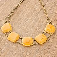 Glass pendant necklace, 'Gleaming Elegance in Orange' - Glass Link Pendant Necklace in Orange from Costa Rica