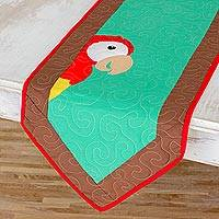 Quilted cotton blend table runner, 'Red Macaw' - Cotton Blend Macaw Table Runner from Costa Rica