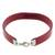 Faux leather wristband bracelet, 'Ellipse in Burgundy' - Stainless Steel Ellipsis Burgundy Wristband Bracelet (image 2c) thumbail