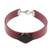 Coconut shell wristband bracelet, 'Resilient' - Burgundy Wristband Bracelet with Coconut Shell Pendant (image 2a) thumbail