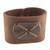 Leather wristband bracelet, 'Powerful' - Brown Leather Coconut Shell Pendant Wristband Bracelet (image 2a) thumbail
