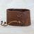 Leather wristband bracelet, 'Powerful' - Brown Leather Coconut Shell Pendant Wristband Bracelet (image 2b) thumbail
