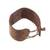 Leather wristband bracelet, 'Powerful' - Brown Leather Coconut Shell Pendant Wristband Bracelet (image 2d) thumbail