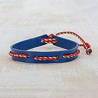 Wristband bracelet, 'Vital' - Blue Adjustable Wristband Bracelet with Colorful Cords