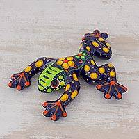 Ceramic figurine, 'Nature's Friend' - Multicolor Floral Motif Hand-Painted Ceramic Frog Figurine