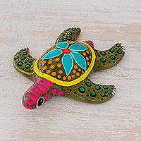 Ceramic figurine, 'Sea Beauty' - Multicolor Hand-Painted Ceramic Sea Turtle Figurine