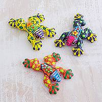 Ceramic figurines, 'Festive Frogs' (set of 3) - Multicolor Hand-Painted Ceramic Frog Figurines (Set of 3)