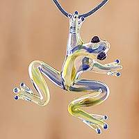Art glass pendant necklace, 'Pond Frog' - Handmade Glass Frog Pendant Necklace from Costa Rica