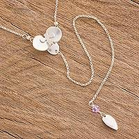 Sterling silver Y necklace, 'Crystal Orchid' - Sterling Silver Orchid Pendant Y Necklace from Costa Rica