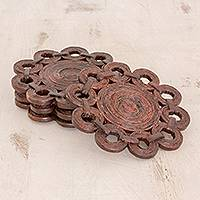 Recycled paper coasters, 'Bloom Again' (set of 4) - Brown Recycled Magazine Paper Flower Coasters (Set of 4)
