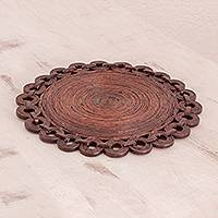 Recycled paper trivet, 'Bloom Anew' - Brown Recycled Magazine Paper Flower of Circles Trivet