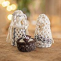 Cotton macrame nativity scene, 'Peaceful Trio' (4 pieces) - Natural Cotton Handmade Macramé Nativity Scene (4 Pieces)