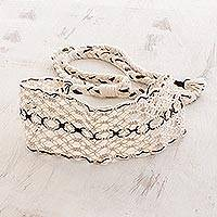 Cotton macramé headband, 'Spiced Vanilla' - Handcrafted Ivory with Brown Stripe Cotton Macramé Headband