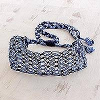 Cotton macramé headband, 'Midnight Maze' - Handcrafted Shades of Blue Stripe Cotton Macramé Headband