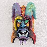 Wood mask, 'Boruca Tradition' - Multi-Color Wood Decorative Boruca Devil Mask