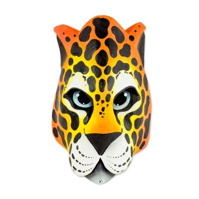 Wood mask, 'Boruca Wild Cat' - Handcrafted Jungle Cat Costa Rican Wood Mask