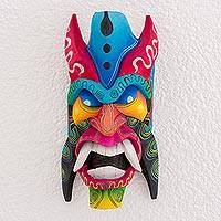 Wood mask, 'Boruca Defender' - Multi-Color Wood Decorative Boruca Devil Mask