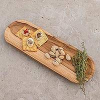 Teakwood serving tray, 'Family Style' - Sustainably Harvested Teakwood Long Serving Tray