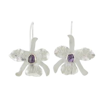 Handcrafted Sterling Silver Amethyst Orchid Drop Earrings