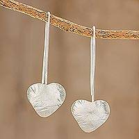 Sterling silver drop earrings, 'Valentine Flora' - Handcrafted Heart Shape Sterling Silver Drop Earrings