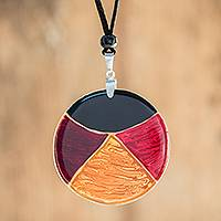 Art glass pendant necklace, 'Dawn Eclipse' - Multicolor Art Glass Pendant Necklace from Costa Rica
