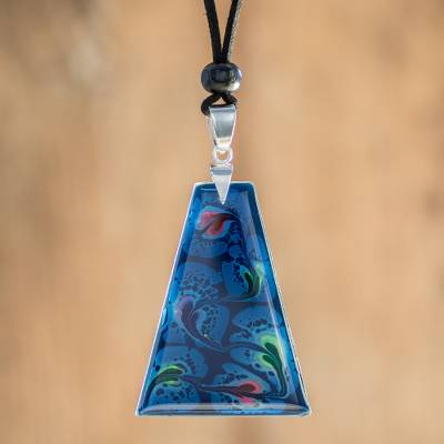 Art glass pendant necklace, 'Deep Sea Currents' - Blue Trapezoid Art Glass Pendant Necklace from Costa Rica