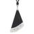 Art glass pendant necklace, 'Dance Fan' - Black Asymmetrical Triangle Art Glass Pendant Necklace (image 2d) thumbail