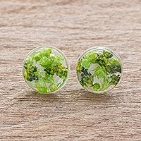 Natural flower button earrings,