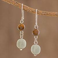 Jade and tiger's eye dangle earrings, 'Guatemalan Lands' - Jade and Tiger's Eye Dangle Earrings from Guatemala