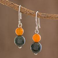 Jade and carnelian dangle earrings, 'Ancient Fruit' - Jade and Carnelian Dangle Earrings Crafted in Guatemala