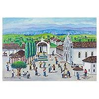 'From South to North' - Signed Folk Art Cityscape Painting from Guatemala