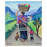 'Woman Goes to Sell Flowers' - Signed Folk Art Painting of a Flower Seller from Guatemala