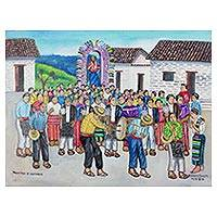 'Procession of Guilds' - Signed Folk Art Painting of a Guatemalan Procession