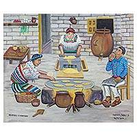 'Women Cooking' - Signed Folk Art Painting of Women Cooking from Guatemala