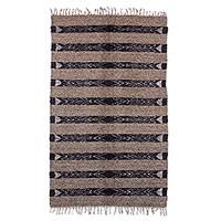 Wool area rug, 'Jasper Inspiration in Taupe' (4x6) - Handwoven Wool Area Rug in Taupe from Guatemala