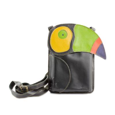 Black Leather Sling Handbag with Colorful Toucan Detail