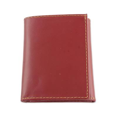 Hand Cut and Stitched Aurora Red Tri-Fold Leather Wallet